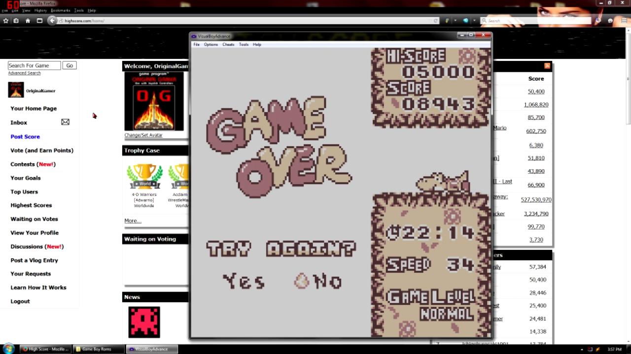 OriginalGamer: Tetris Attack: Endless [Normal] (Game Boy Emulated) 8,943 points on 2015-09-07 23:13:22