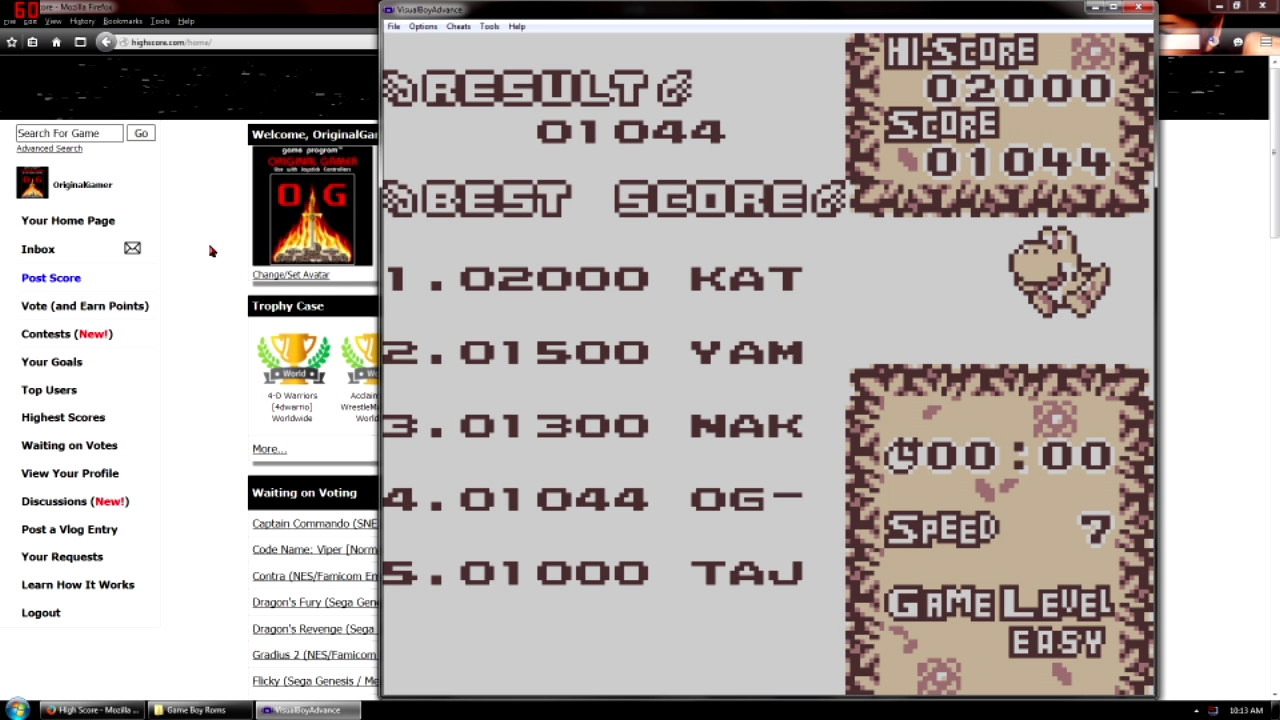 OriginalGamer: Tetris Attack: Time Trial [Easy] (Game Boy Emulated) 1,044 points on 2015-09-11 22:11:32