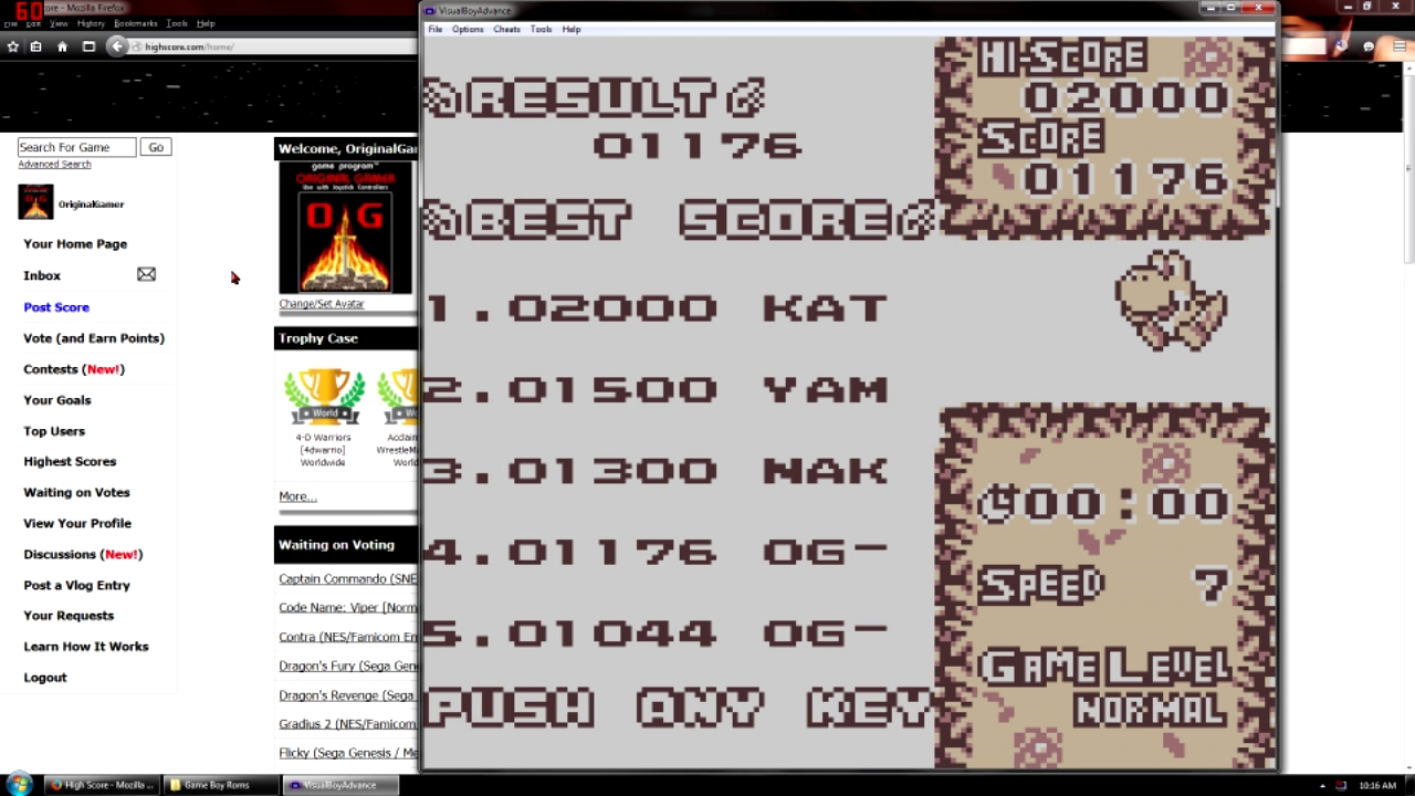 OriginalGamer: Tetris Attack: Time Trial [Normal] (Game Boy Emulated) 1,176 points on 2015-09-11 22:13:25