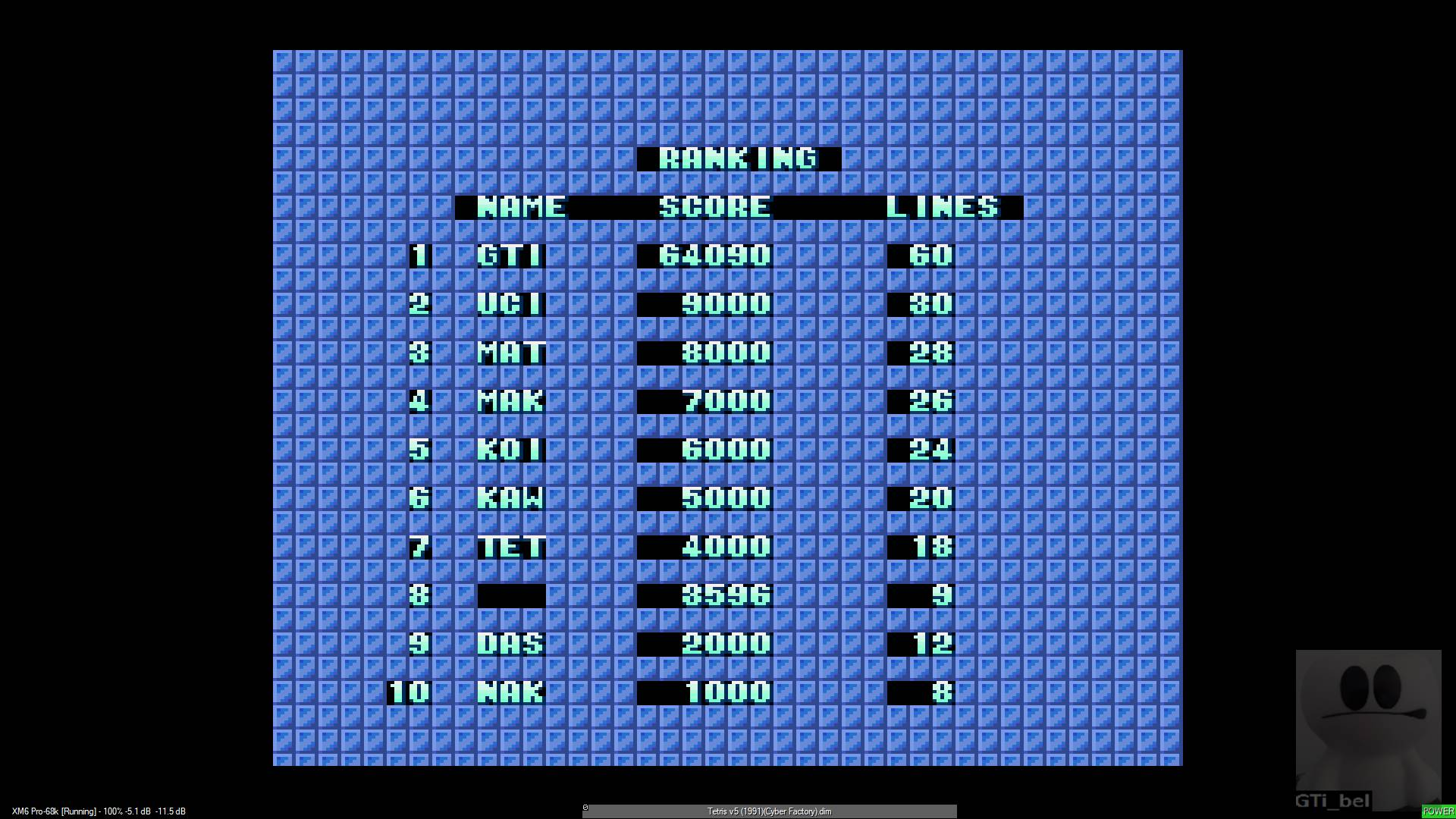 GTibel: Tetris [Cyber Factory] (Sharp X68000 Emulated) 64,090 points on 2020-01-27 03:09:32