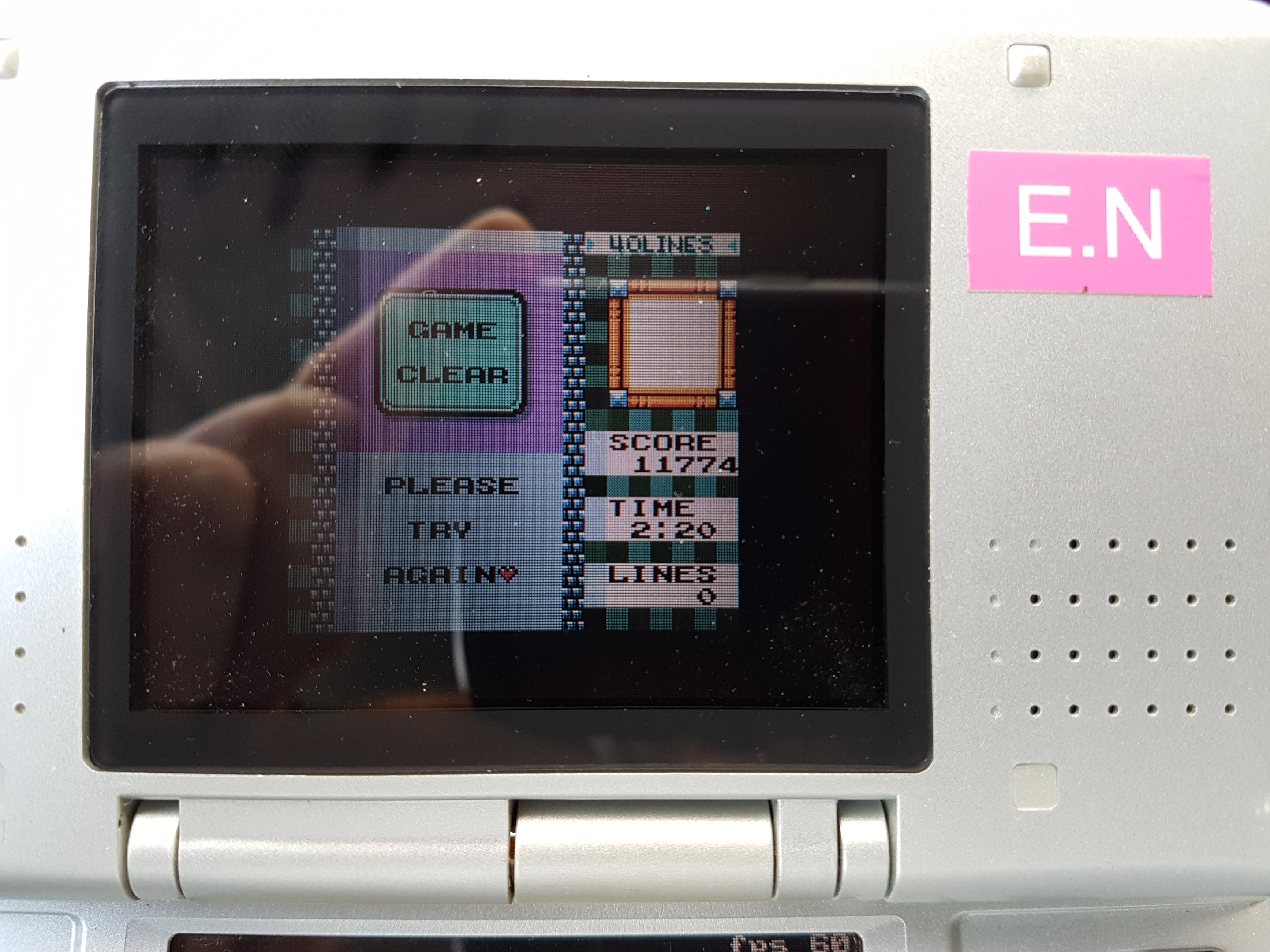 EddieNiceguy: Tetris DX: 40 Lines [Level 3/Height 5] (Game Boy Color Emulated) 0:02:20 points on 2019-01-21 05:33:29