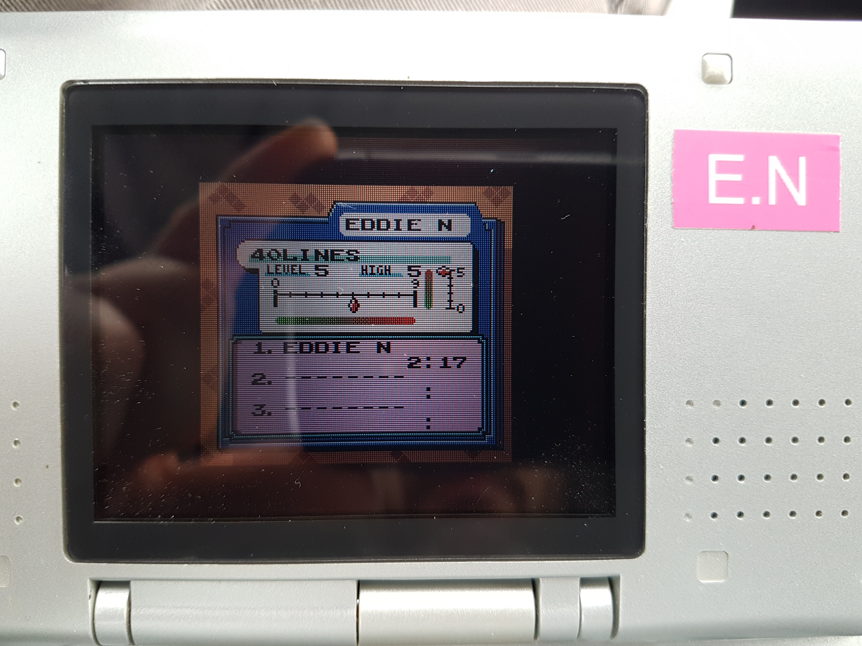 EddieNiceguy: Tetris DX: 40 Lines [Level 5/Height 5] (Game Boy Color Emulated) 0:02:17 points on 2019-01-25 05:52:30