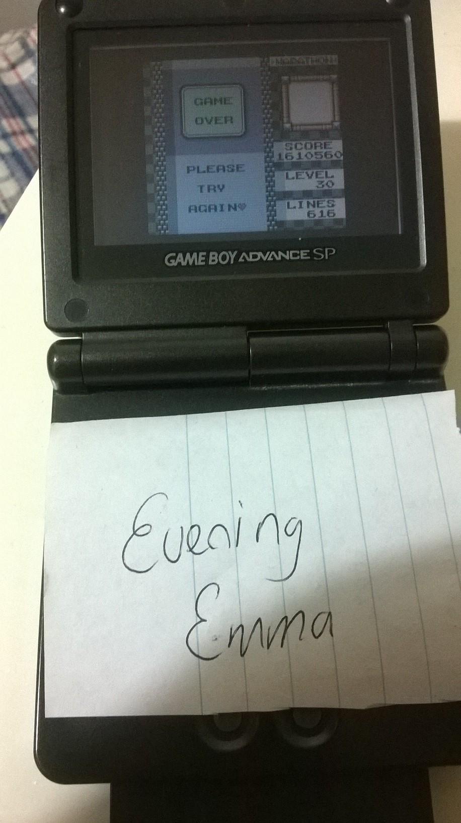 EveningEmma: Tetris DX: Marathon [Points] (Game Boy Color) 1,610,560 points on 2015-07-06 05:19:14