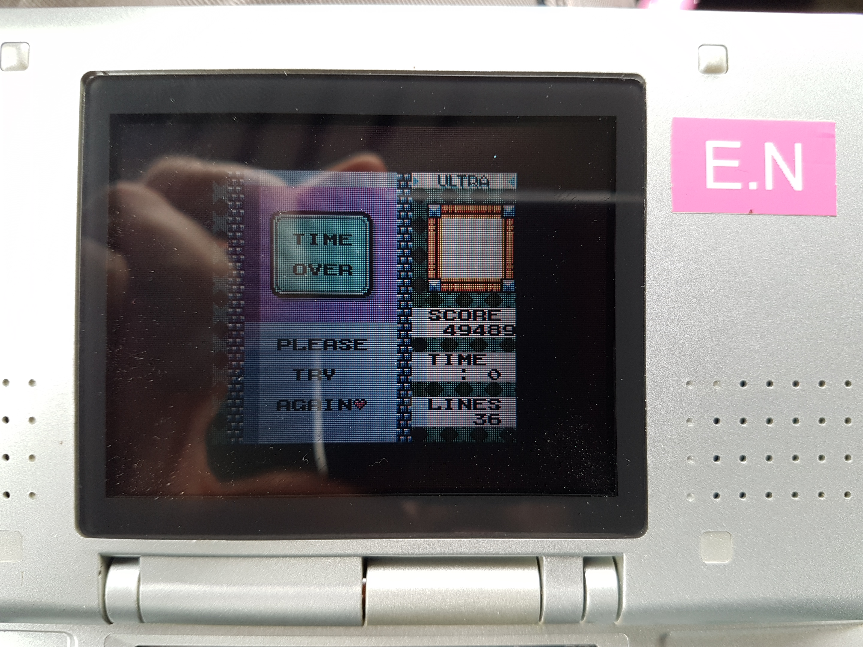 EddieNiceguy: Tetris DX: Ultra [Level 9] (Game Boy Color Emulated) 49,489 points on 2019-02-04 05:36:38
