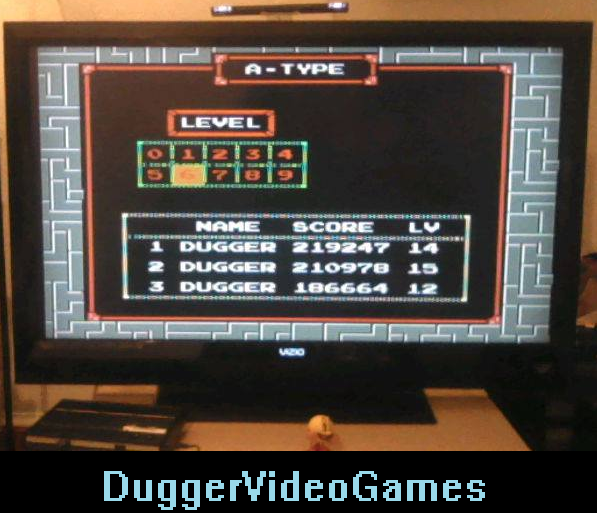 DuggerVideoGames: Tetris (NES/Famicom Emulated) 219,247 points on 2016-04-08 20:02:58