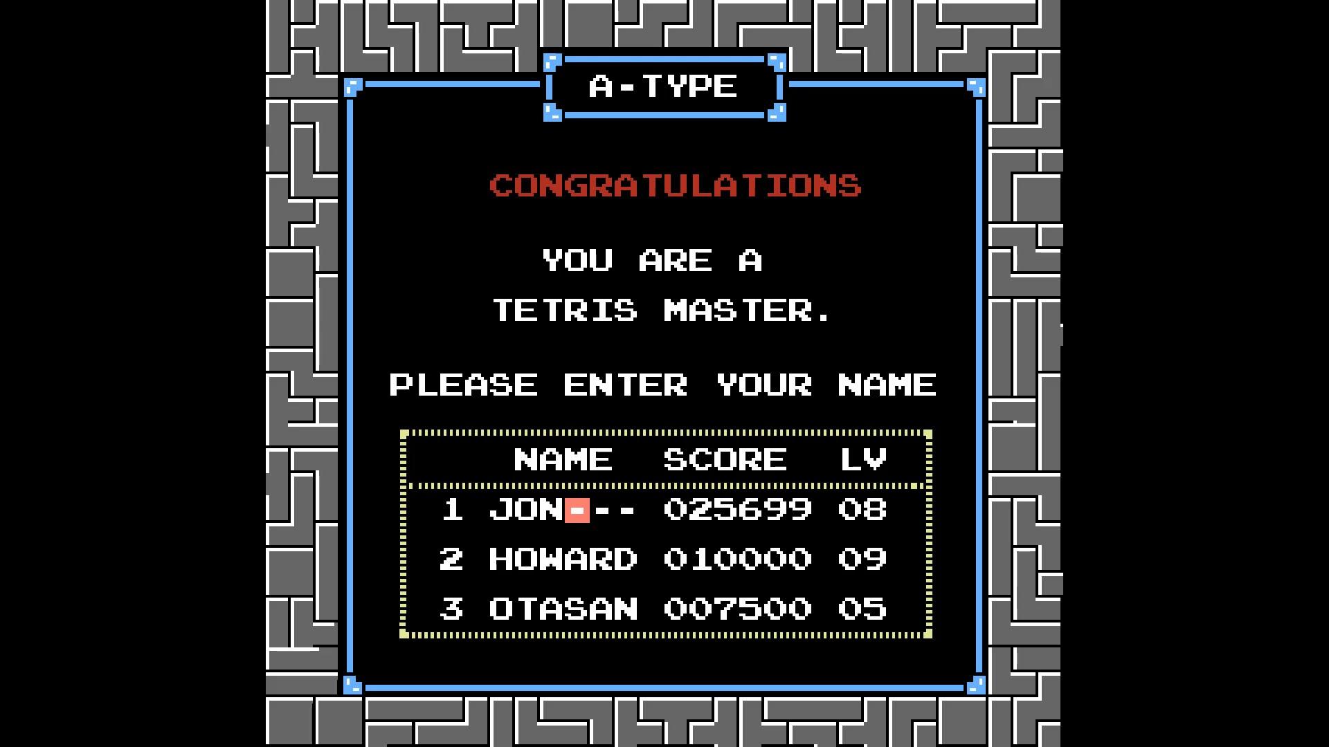 AkinNahtanoj: Tetris (NES/Famicom Emulated) 25,699 points on 2020-08-17 06:53:55