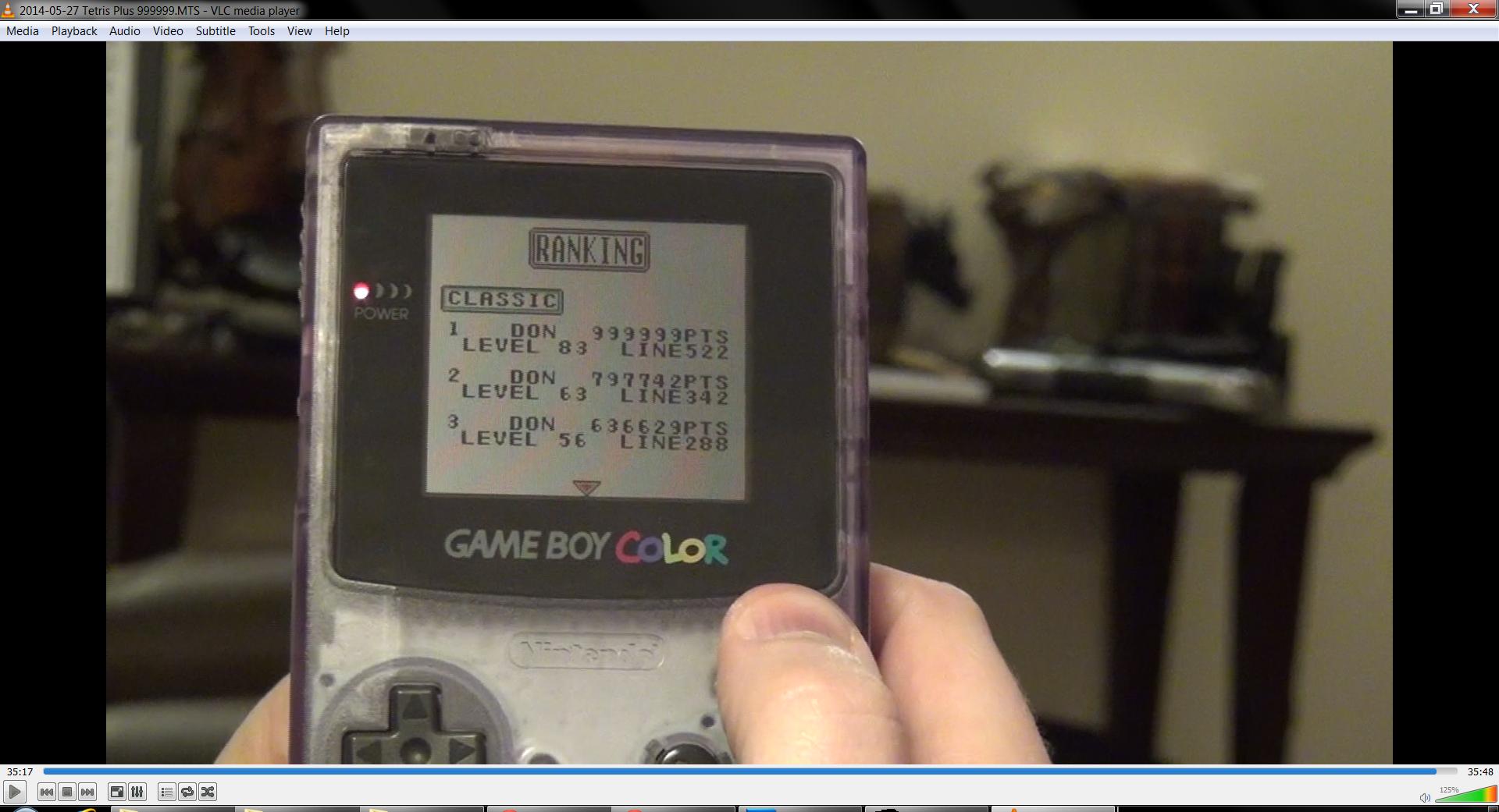 DonAtreides: Tetris Plus - Classic (Game Boy) 999,999 points on 2016-01-01 17:16:00