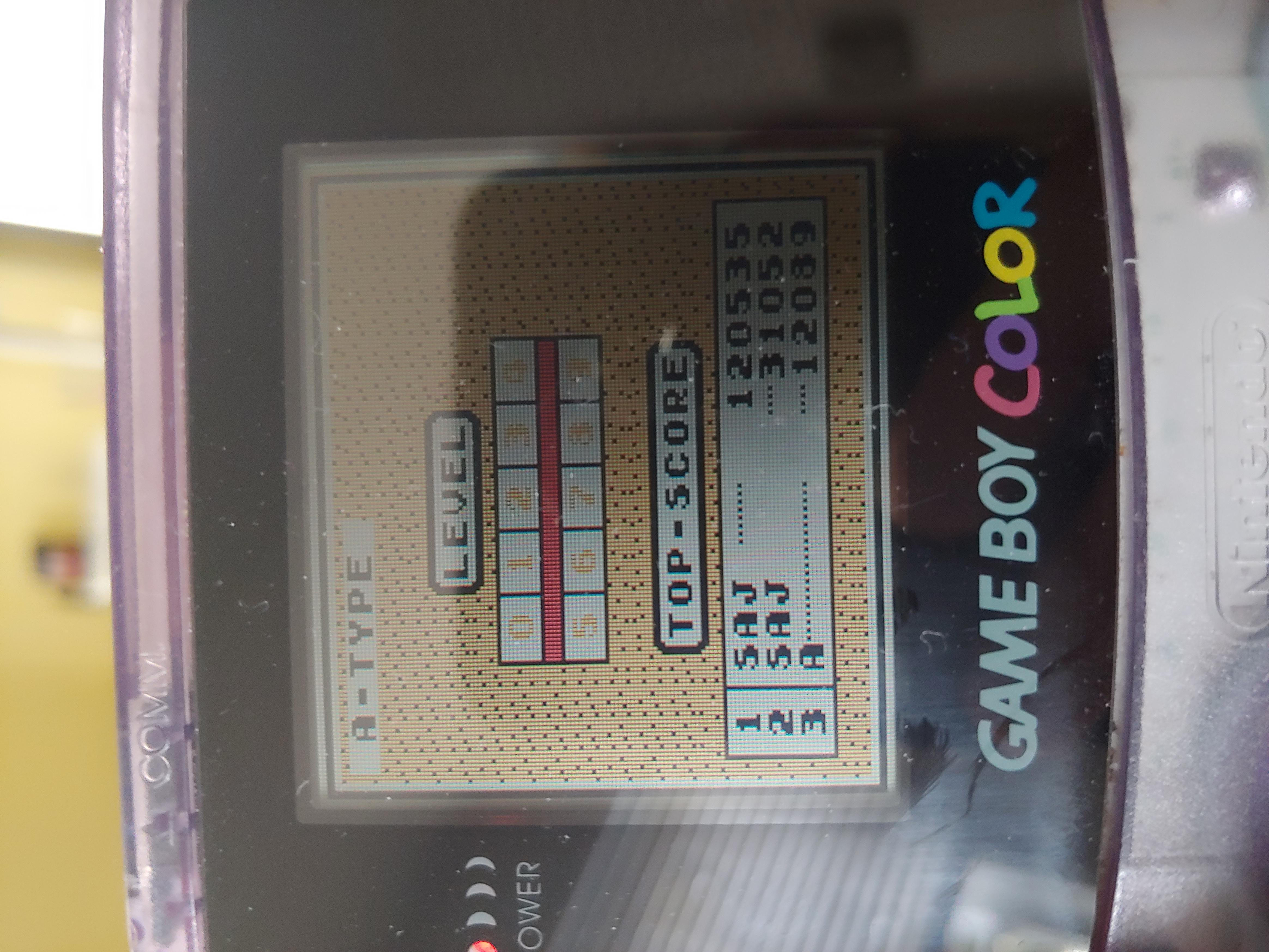 sajattack: Tetris [Points] (Game Boy) 120,535 points on 2019-07-23 18:13:28