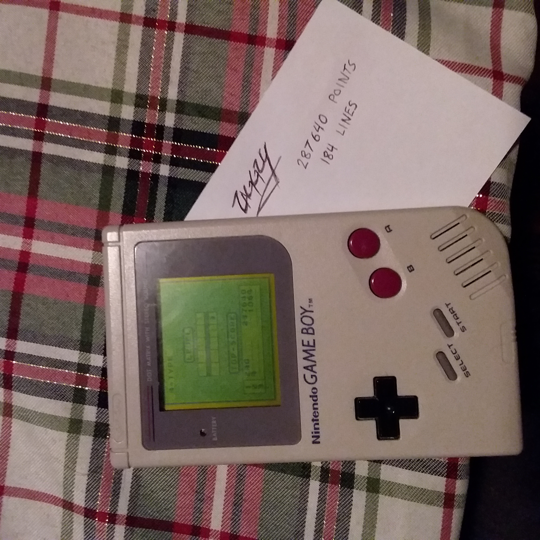 Zaggzy: Tetris [Points] (Game Boy) 287,640 points on 2020-02-29 22:13:19