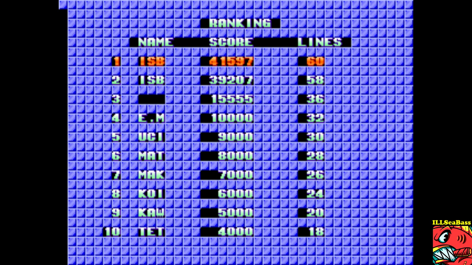 ILLSeaBass: Tetris [Sega] [tetrisbl] (Arcade Emulated / M.A.M.E.) 41,597 points on 2017-09-29 23:22:38