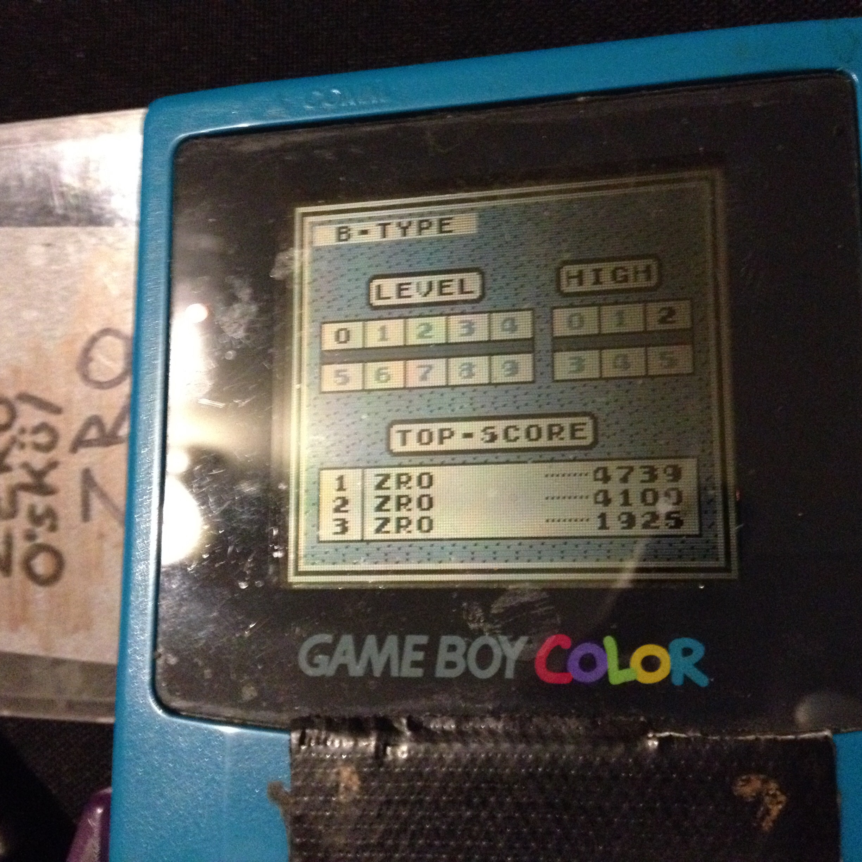 zerooskul: Tetris: Type B [Level 0 / High 2] (Game Boy) 4,739 points on 2019-12-04 22:13:58