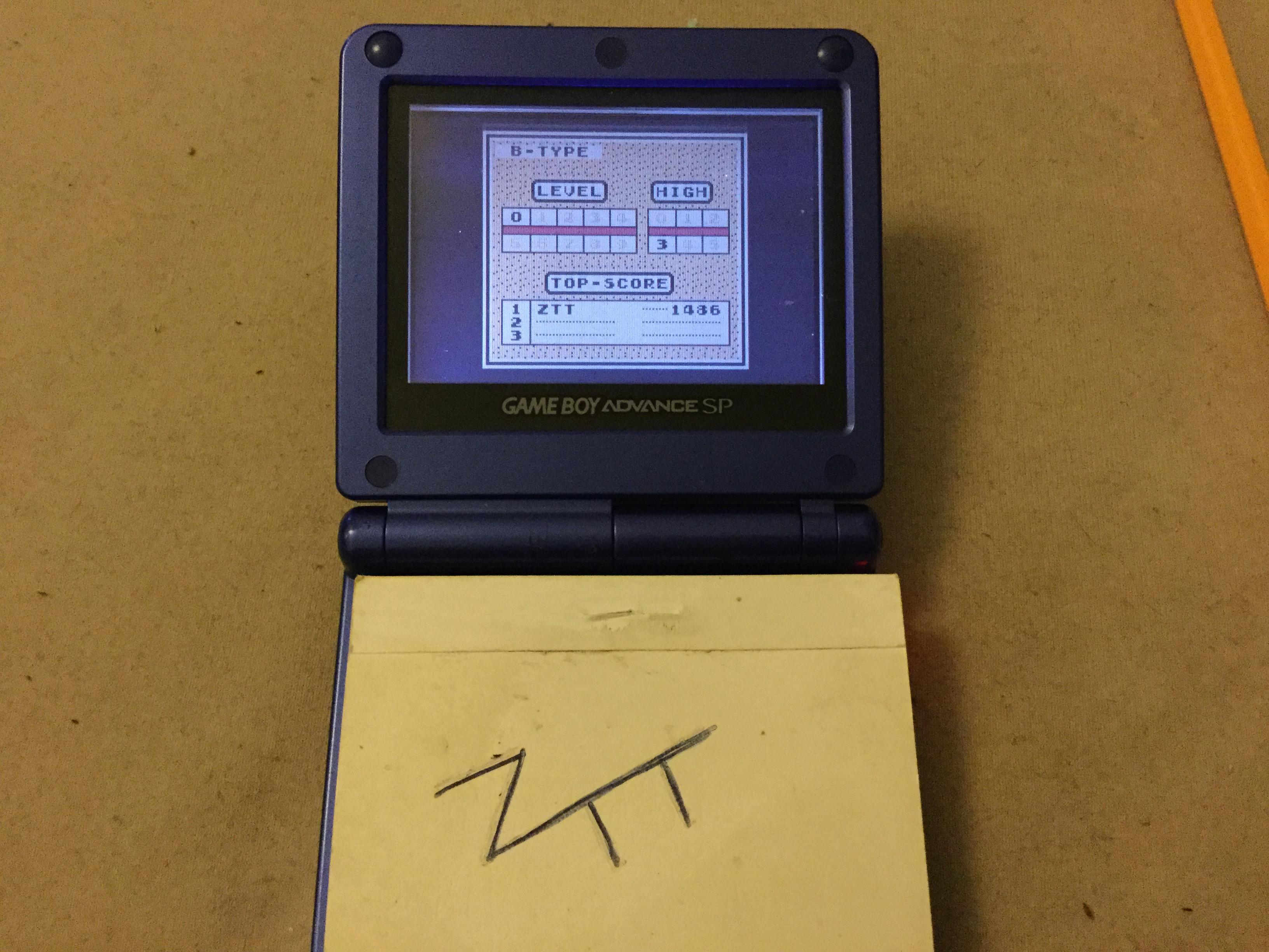 Frankie: Tetris: Type B [Level 0 / High 3] (Game Boy) 1,486 points on 2019-11-13 12:07:06