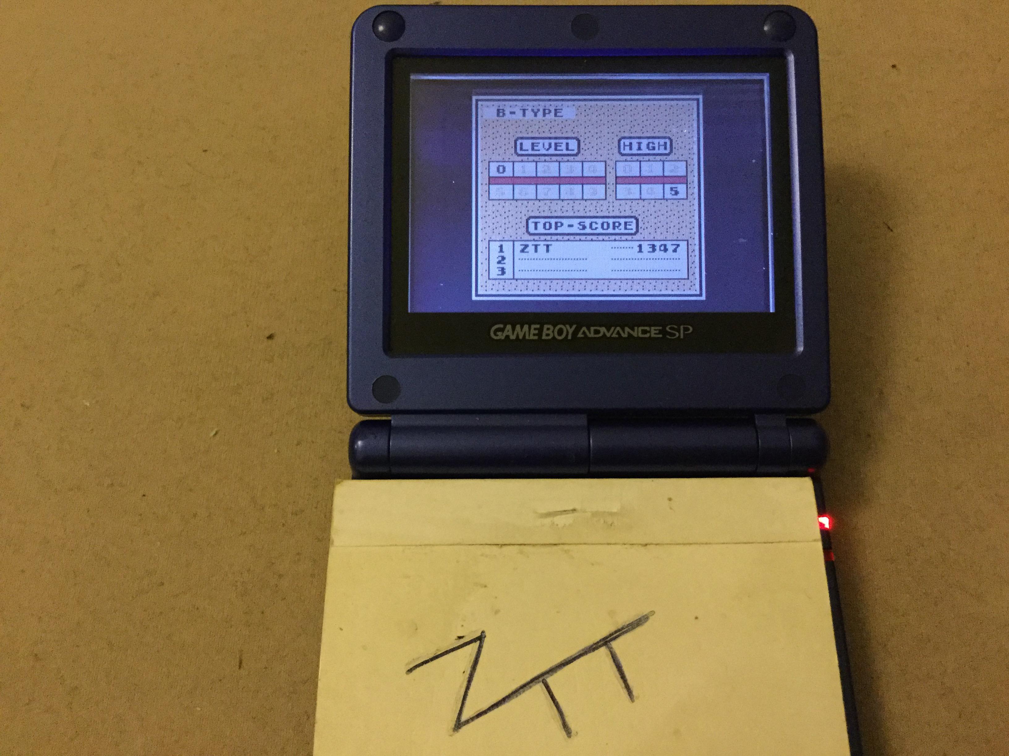 Frankie: Tetris: Type B [Level 0 / High 5] (Game Boy) 1,347 points on 2019-11-13 12:25:27