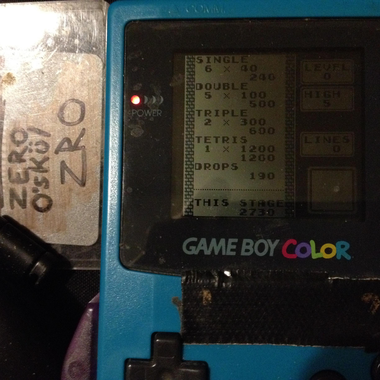 zerooskul: Tetris: Type B [Level 0 / High 5] (Game Boy) 2,730 points on 2019-12-05 01:27:11