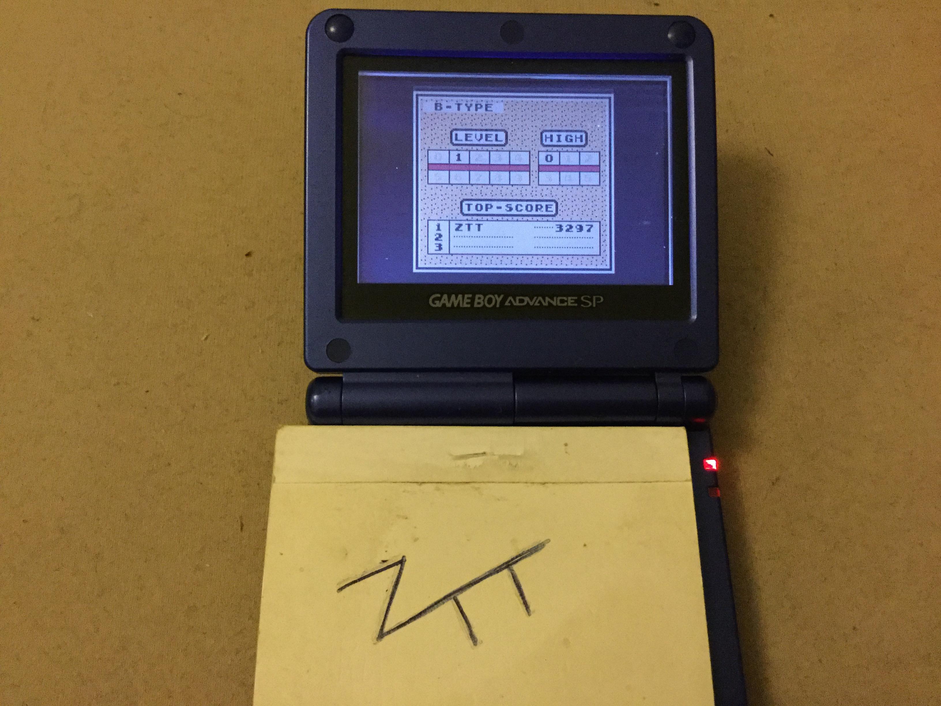 Frankie: Tetris: Type B [Level 1 / High 0] (Game Boy) 3,297 points on 2019-11-13 12:34:52