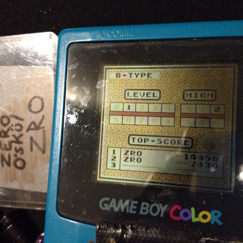 zerooskul: Tetris: Type B [Level 1 / High 2] (Game Boy) 14,956 points on 2019-12-05 17:03:59