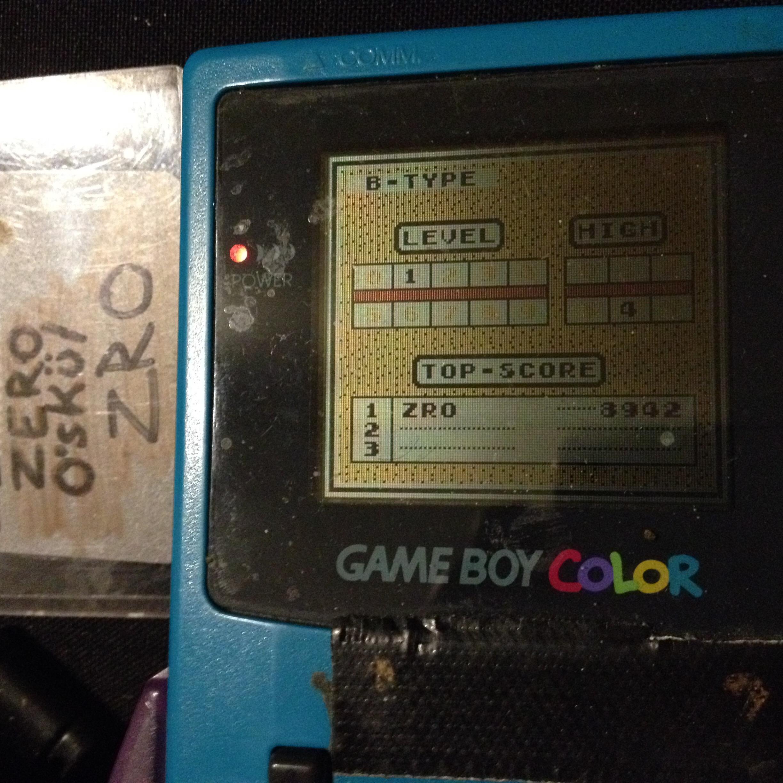 zerooskul: Tetris: Type B [Level 1 / High 4] (Game Boy) 8,942 points on 2019-12-05 17:32:24