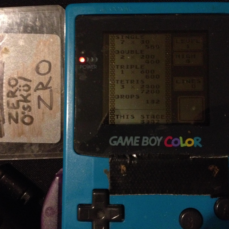 Tetris: Type B [Level 1 / High 4] 8,942 points