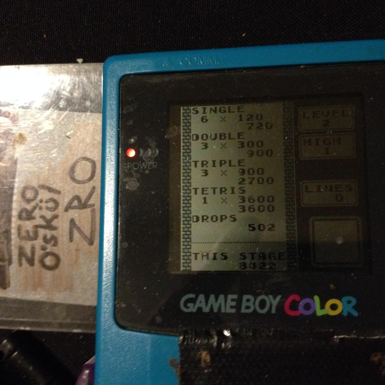 zerooskul: Tetris: Type B [Level 2 / High 1] (Game Boy) 8,422 points on 2019-12-05 19:41:16