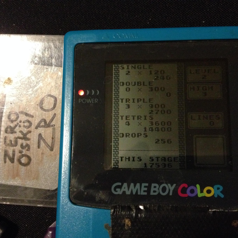 zerooskul: Tetris: Type B [Level 2 / High 3] (Game Boy) 17,596 points on 2019-12-05 23:33:16