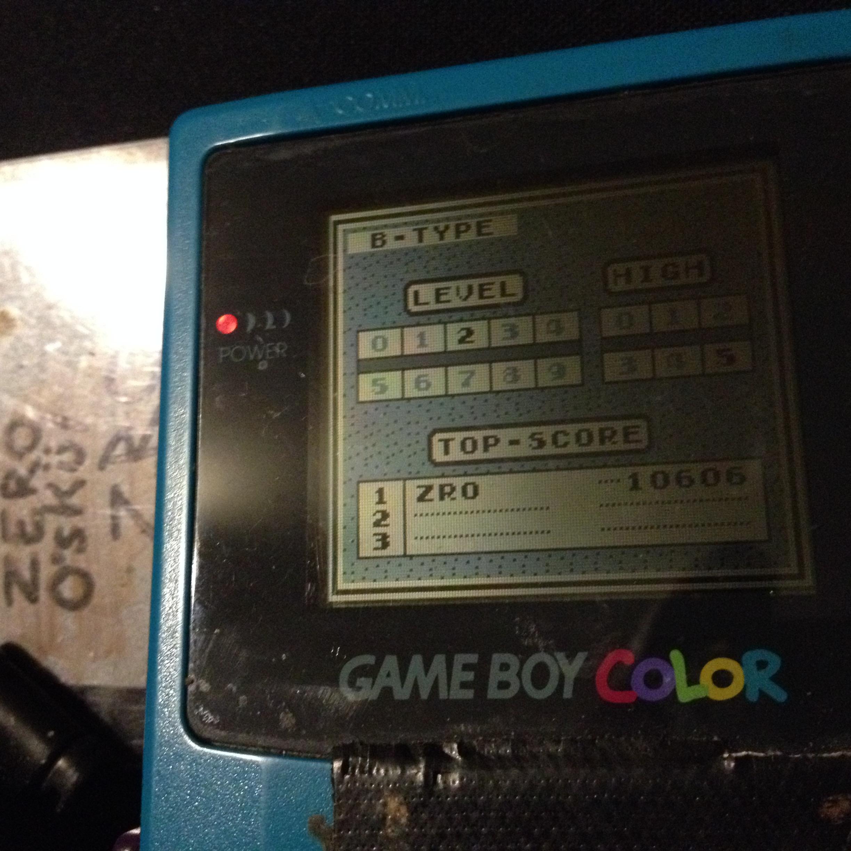 zerooskul: Tetris: Type B [Level 2 / High 5] (Game Boy) 10,606 points on 2019-12-06 18:25:02