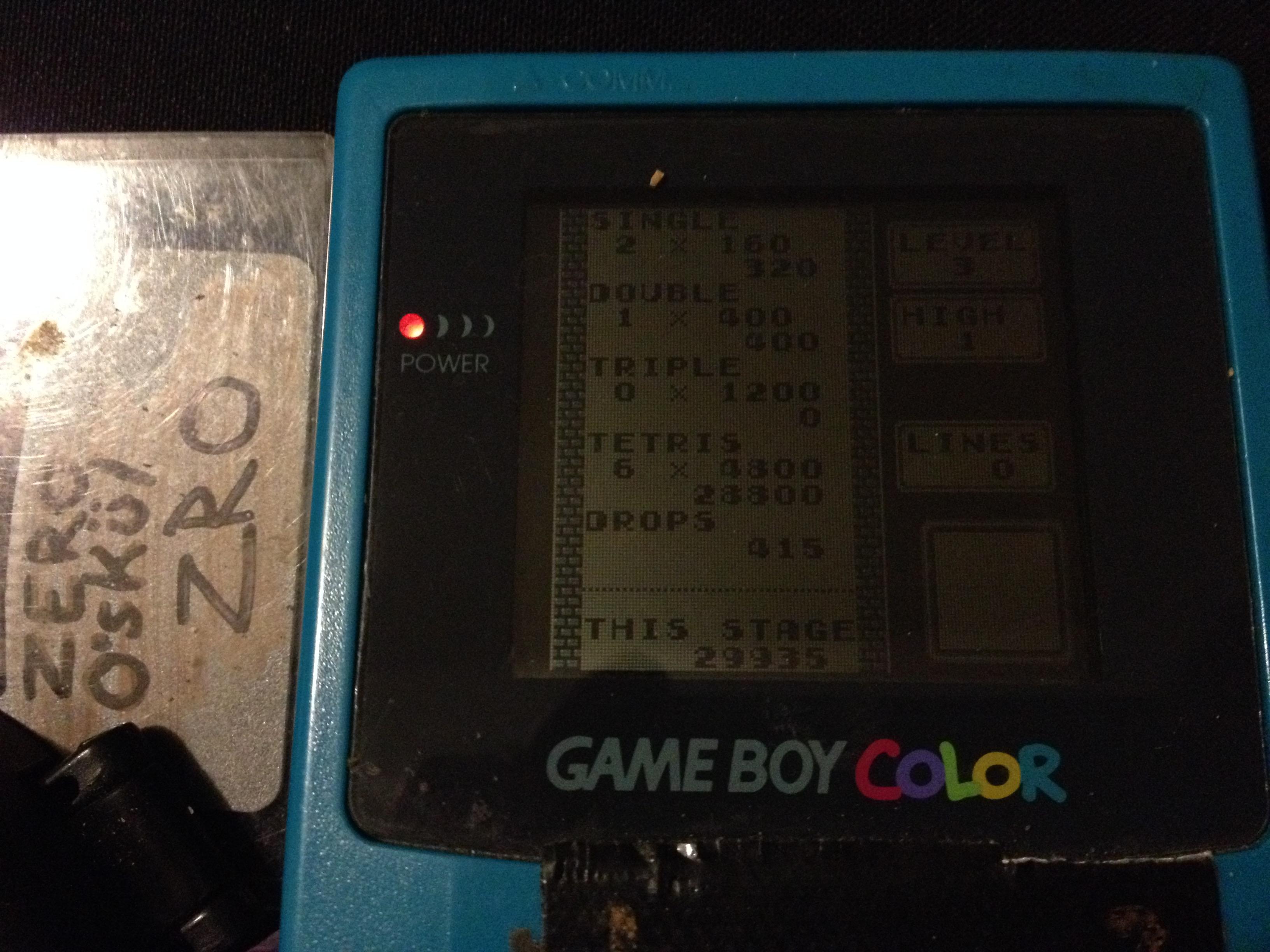 zerooskul: Tetris: Type B [Level 3 / High 1] (Game Boy) 29,935 points on 2019-12-06 21:47:46