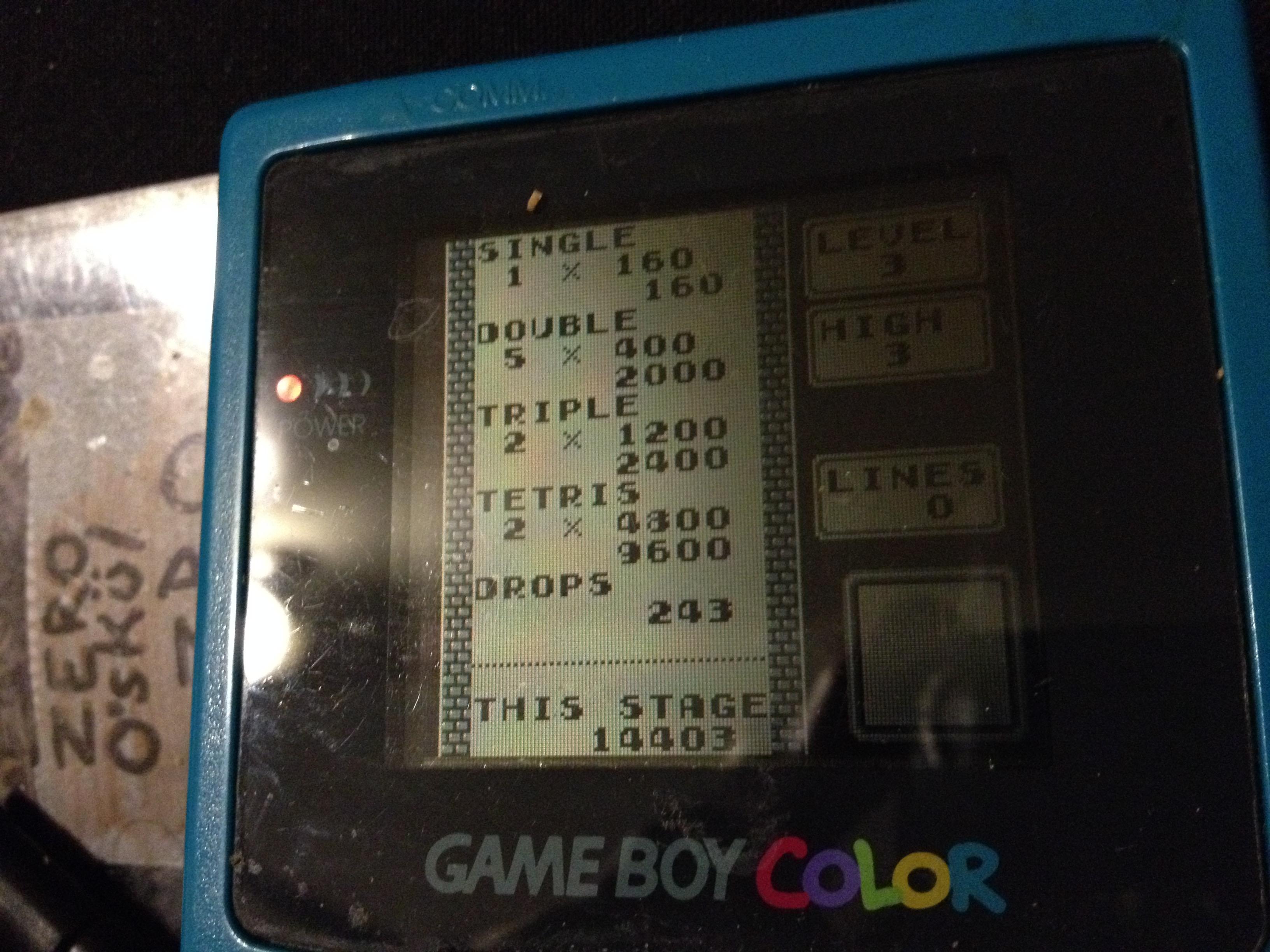 zerooskul: Tetris: Type B [Level 3 / High 3] (Game Boy) 14,403 points on 2019-12-06 22:37:19