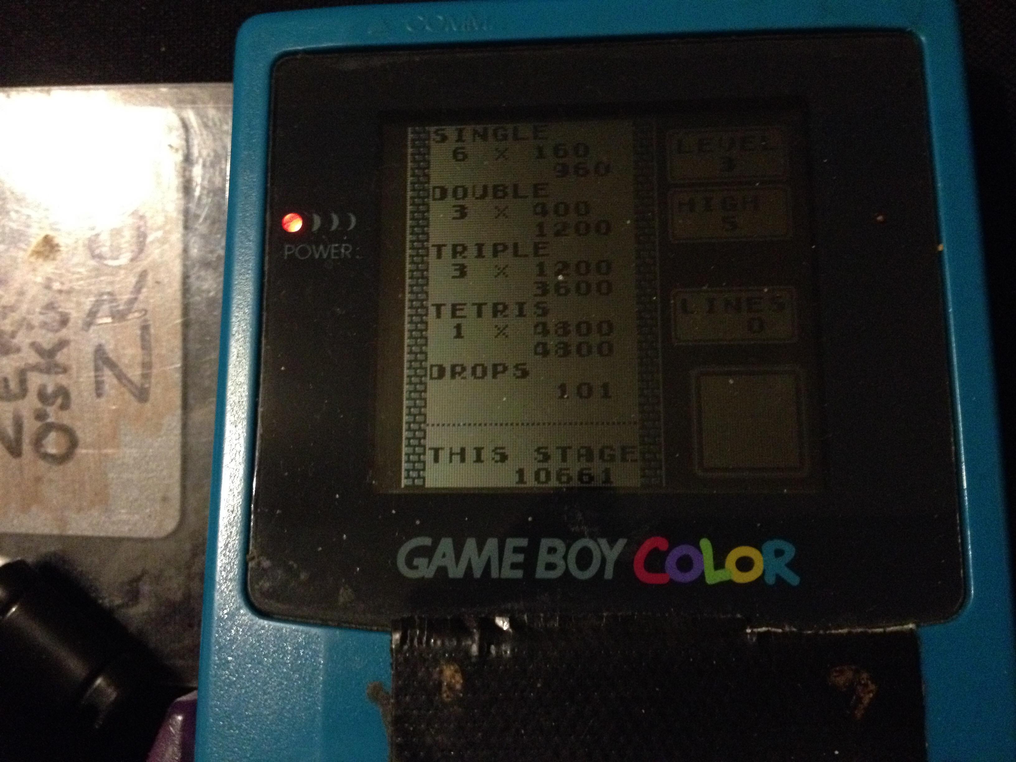 zerooskul: Tetris: Type B [Level 3 / High 5] (Game Boy) 10,661 points on 2019-12-08 21:42:43