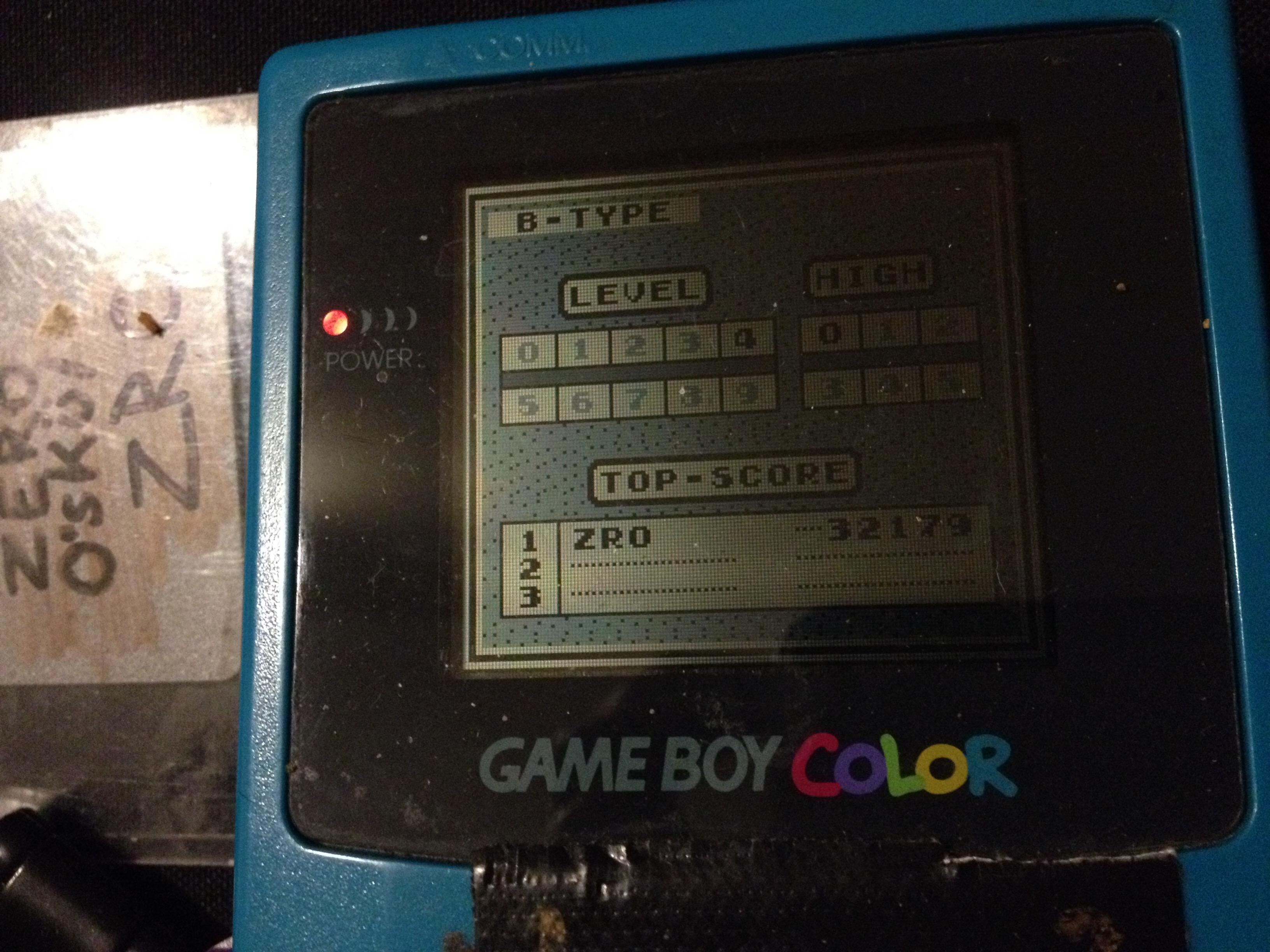 zerooskul: Tetris: Type B [Level 4 / High 0] (Game Boy) 32,179 points on 2019-12-08 23:53:37