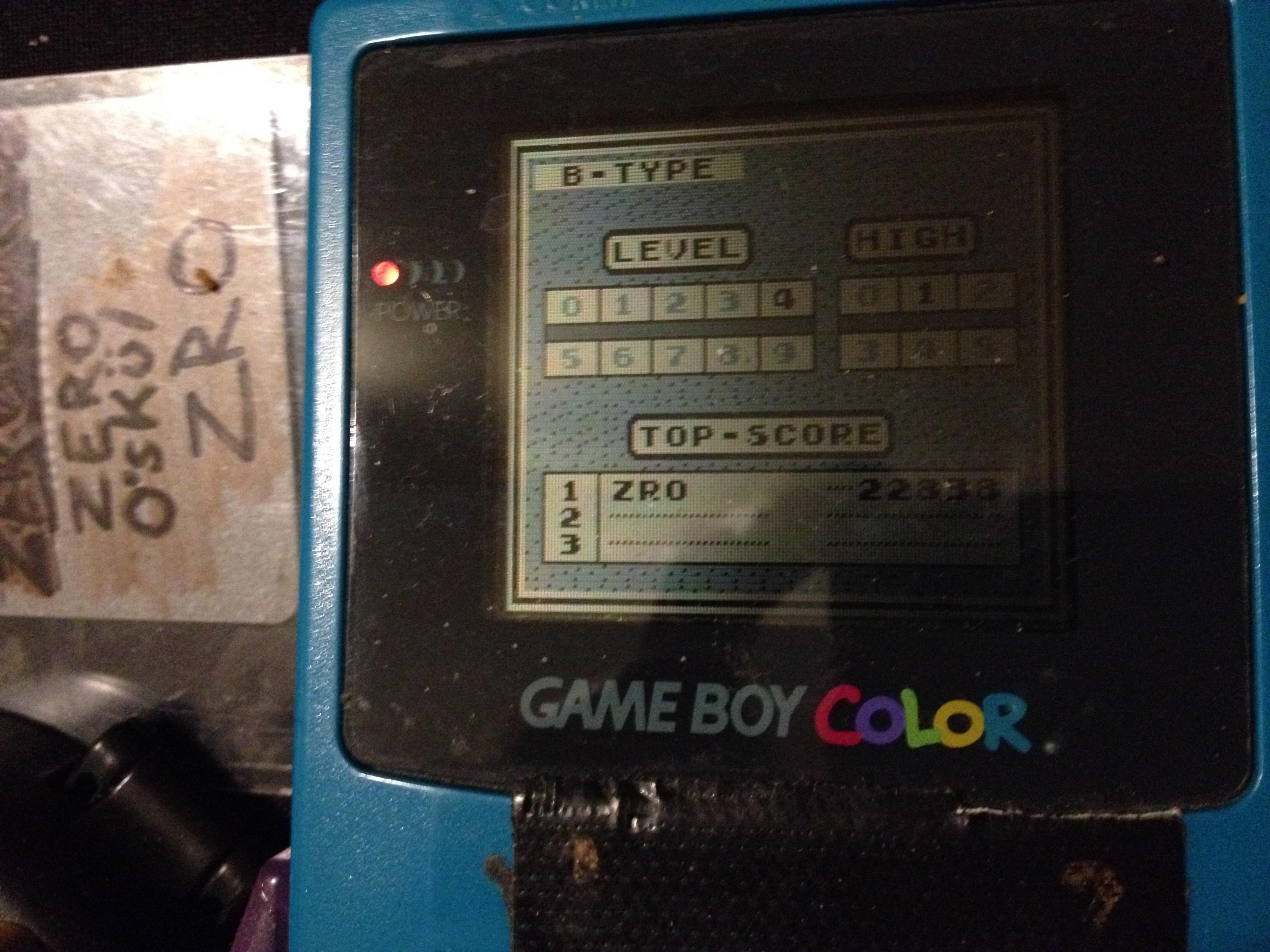 zerooskul: Tetris: Type B [Level 4 / High 1] (Game Boy) 22,838 points on 2019-12-09 12:10:29