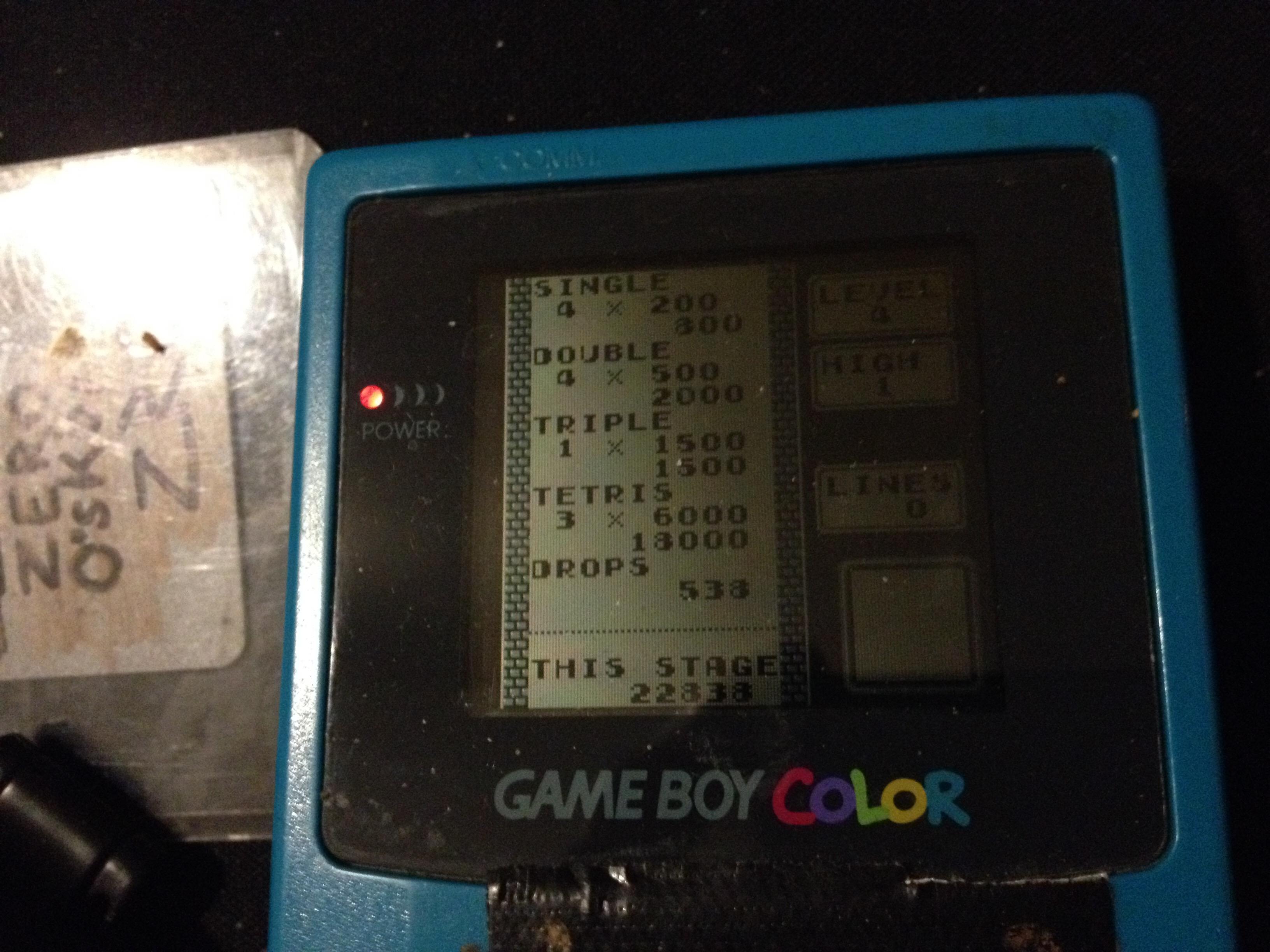 Tetris: Type B [Level 4 / High 1] 22,838 points
