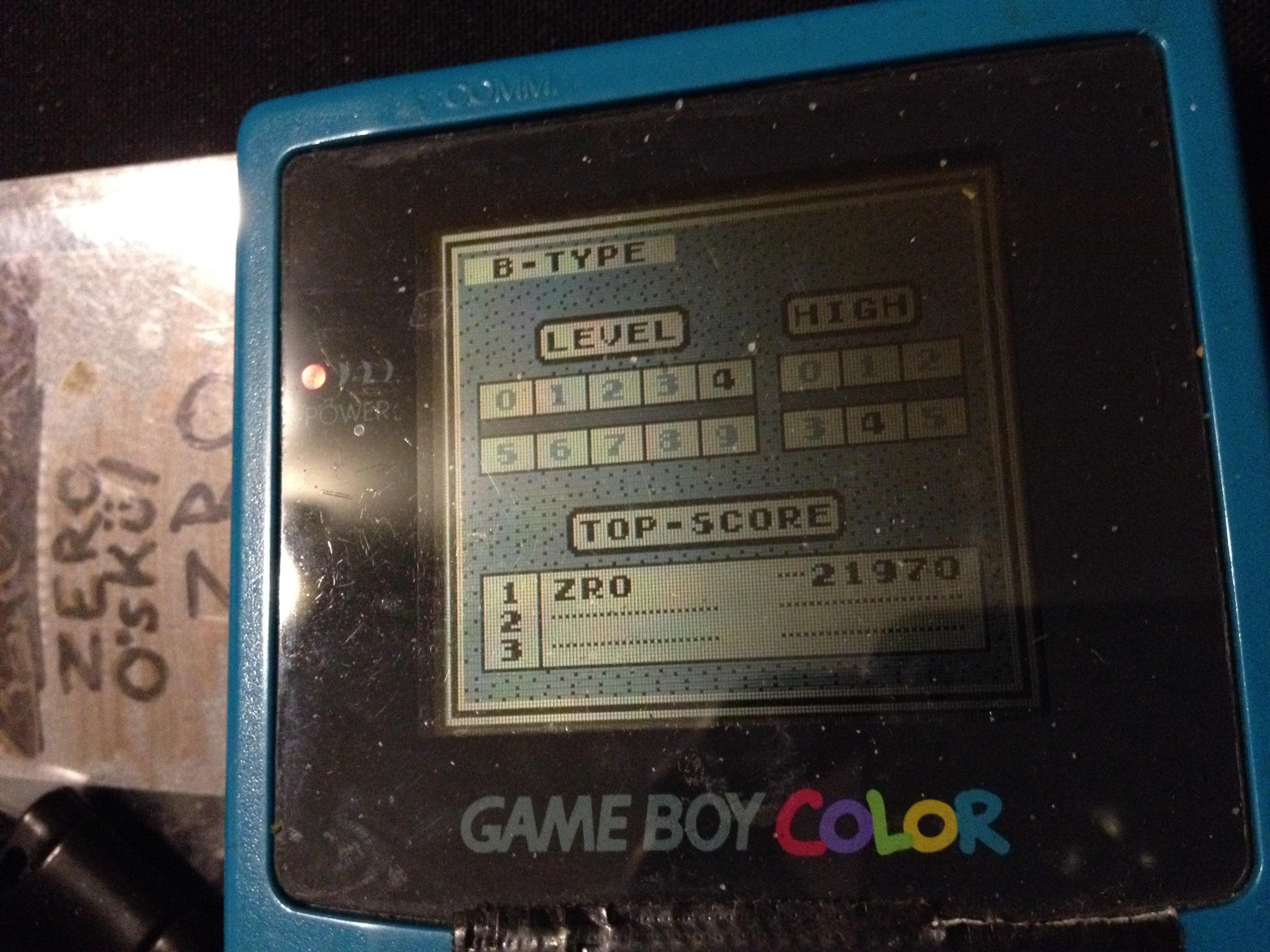 zerooskul: Tetris: Type B [Level 4 / High 4] (Game Boy) 21,970 points on 2019-12-09 13:00:35