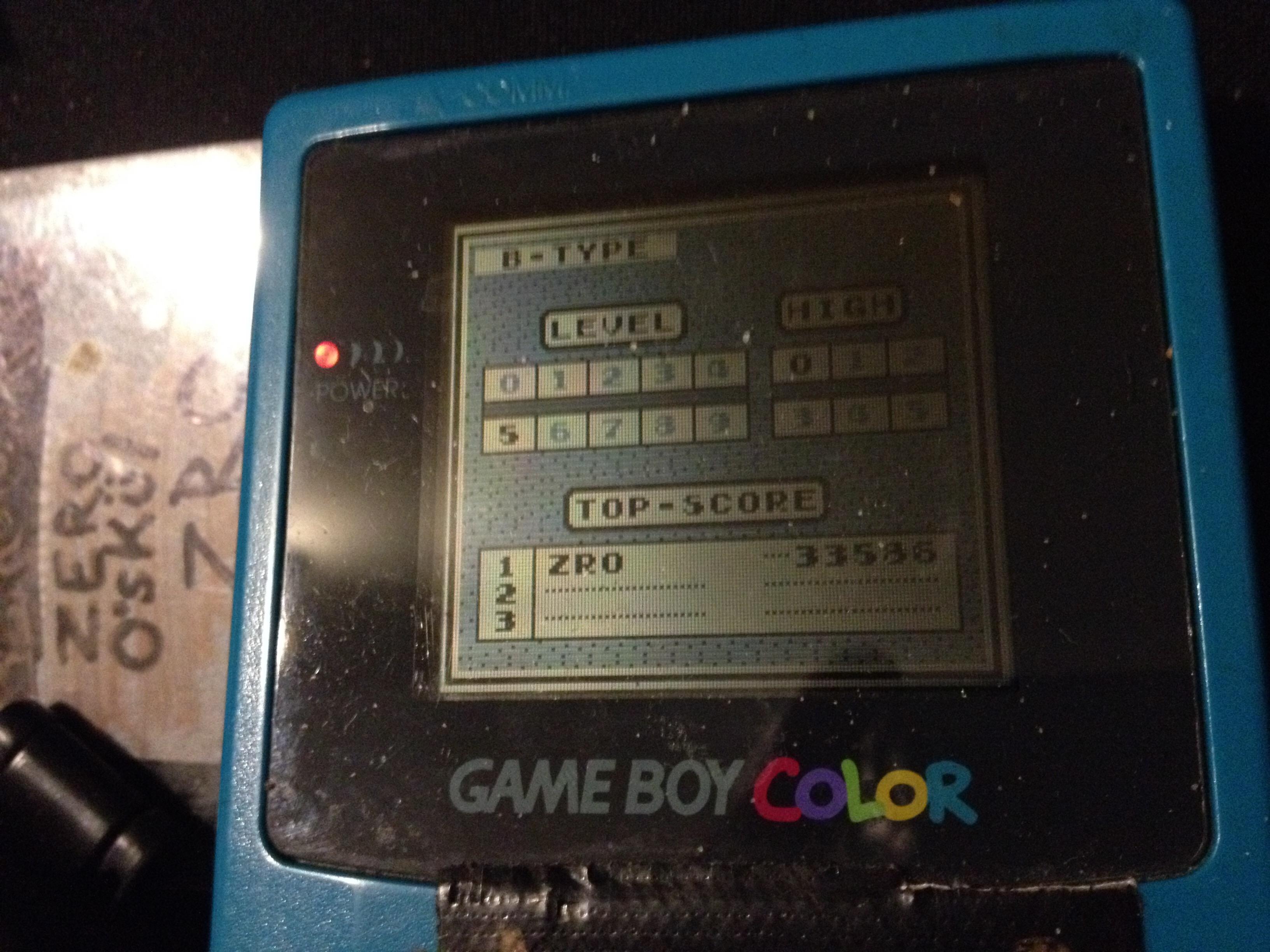 zerooskul: Tetris: Type B [Level 5 / High 0] (Game Boy) 33,586 points on 2019-12-09 13:29:46