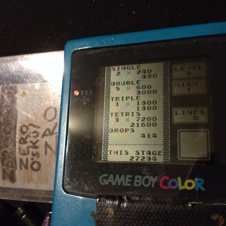zerooskul: Tetris: Type B [Level 5 / High 1] (Game Boy) 27,294 points on 2019-12-09 18:58:39
