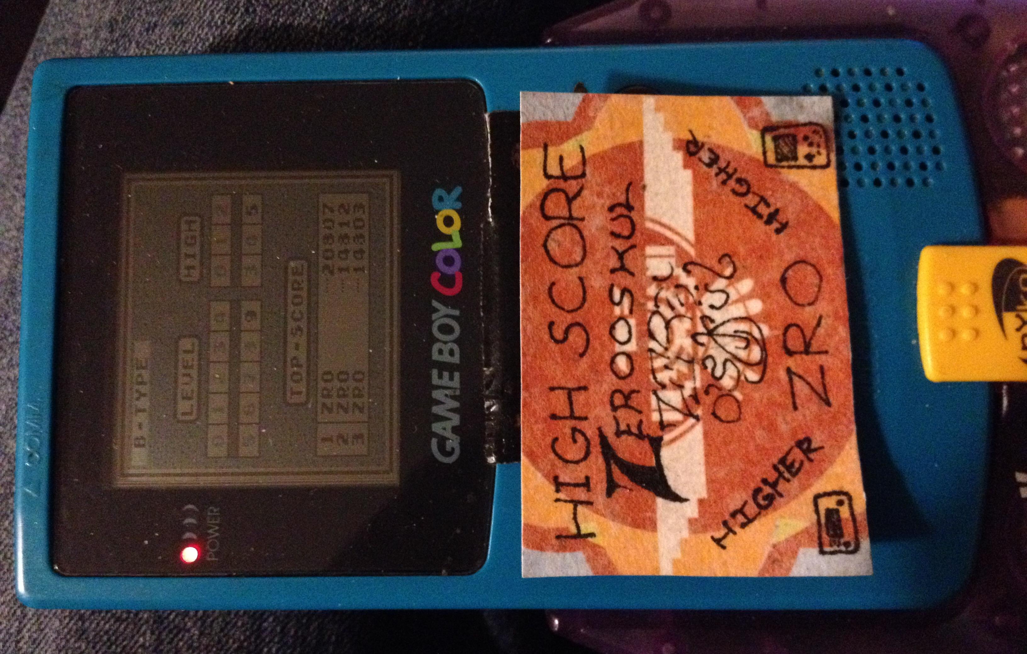 zerooskul: Tetris: Type B [Level 9 / High 5] (Game Boy) 20,807 points on 2019-11-11 14:13:41