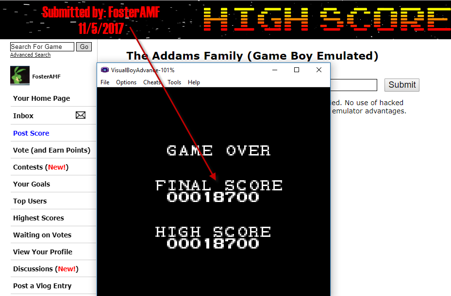 FosterAMF: The Addams Family (Game Boy Emulated) 18,700 points on 2017-11-05 15:32:34