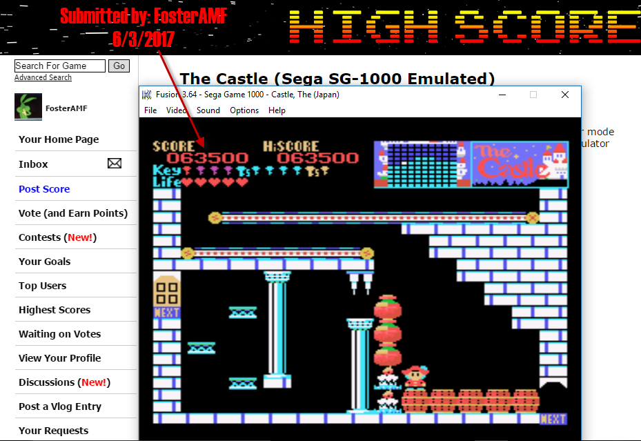 FosterAMF: The Castle (Sega SG-1000 Emulated) 63,500 points on 2017-06-03 17:18:03