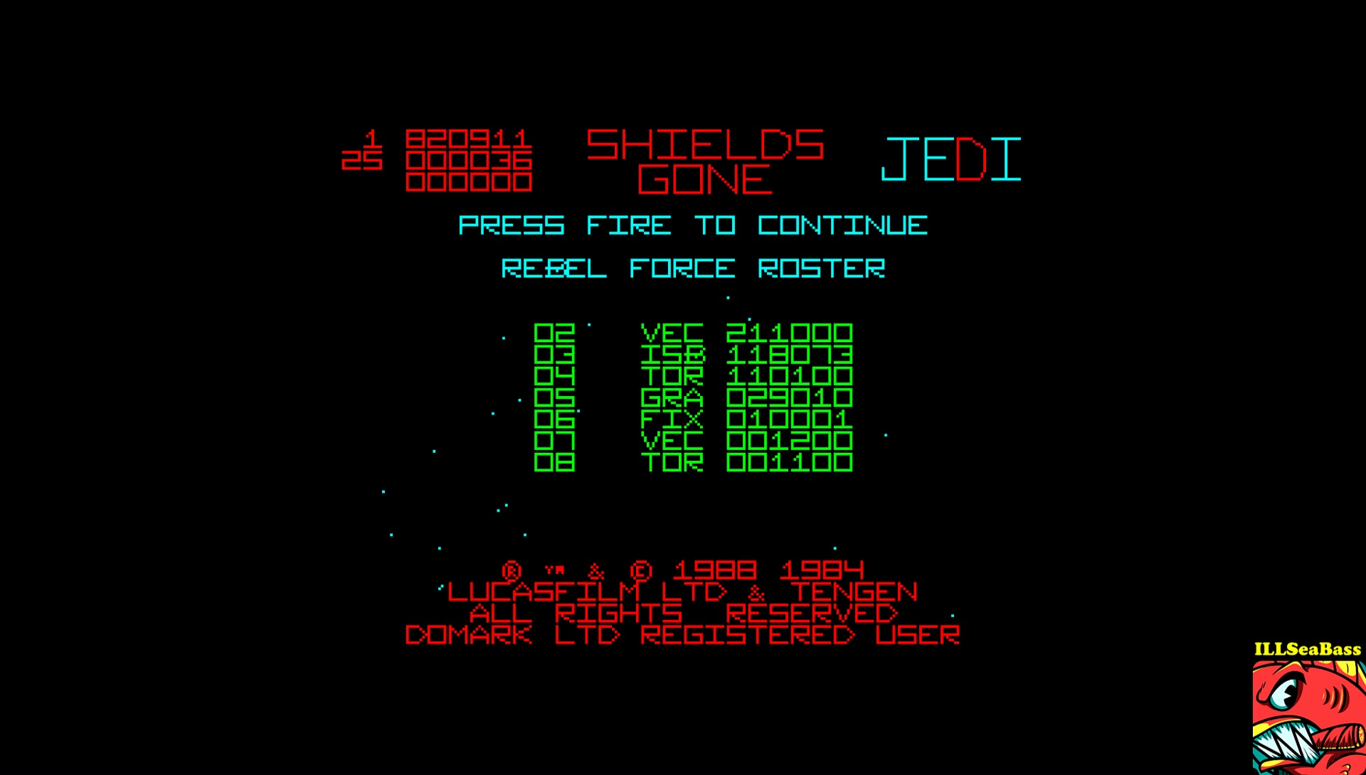 ILLSeaBass: The Empire Strikes Back [Wave 2 - Medium] (Amstrad CPC Emulated) 118,073 points on 2017-02-23 23:51:34