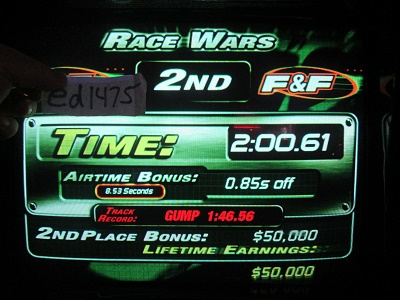 ed1475: The Fast And The Furious: Race Wars (Arcade) 0:02:00.61 points on 2018-05-17 23:32:13