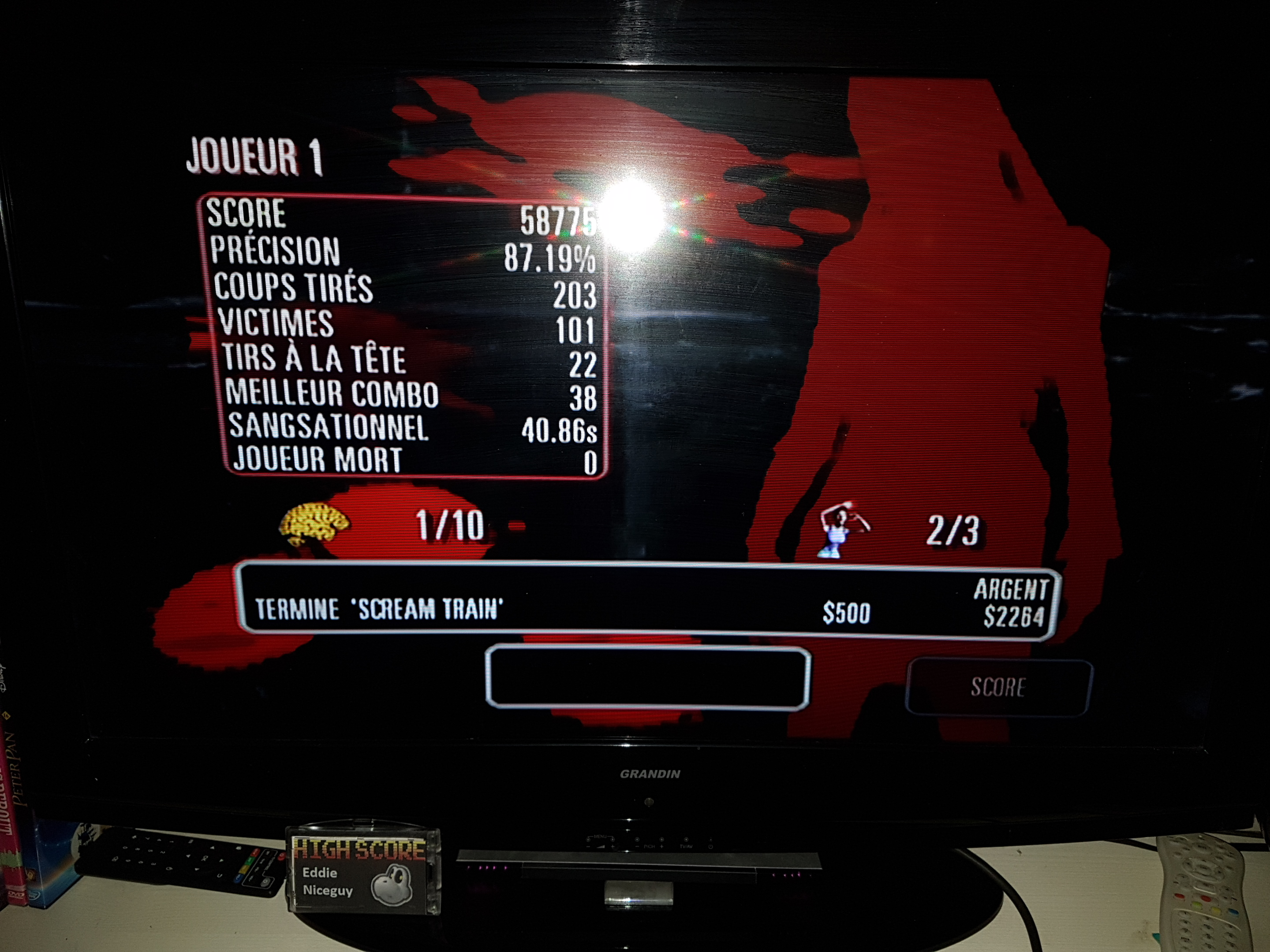 EddieNiceguy: The House Of The Dead: Overkill: Story Mode: Scream Train (Wii) 58,775 points on 2019-02-08 16:52:29