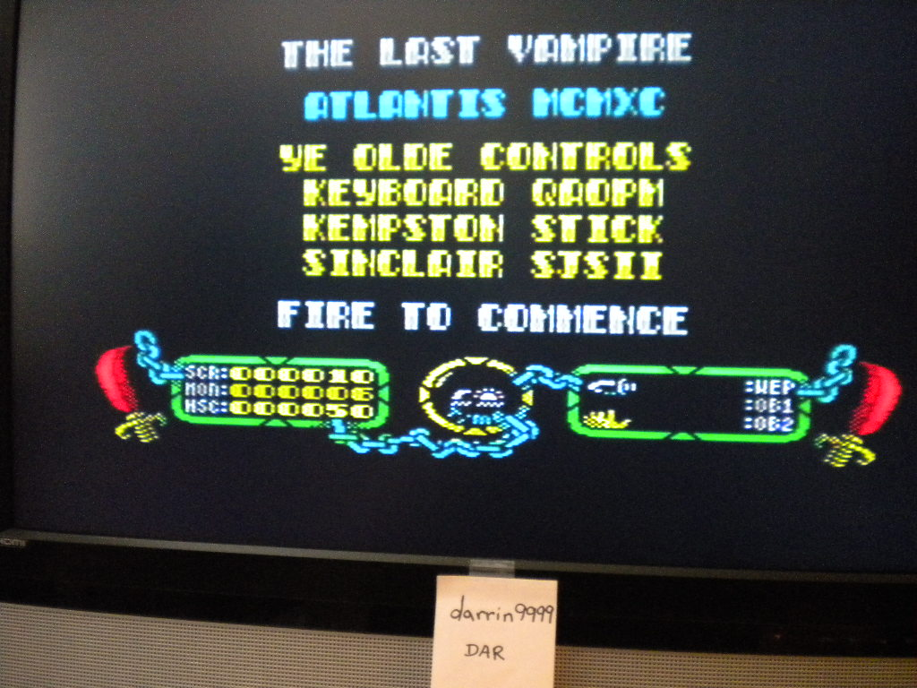darrin9999: The Last Vampire (ZX Spectrum Emulated) 10 points on 2017-04-02 13:24:31