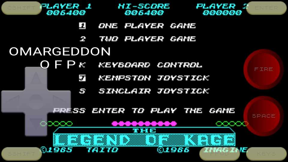omargeddon: The Legend Of Kage (ZX Spectrum Emulated) 6,400 points on 2016-10-19 11:22:52