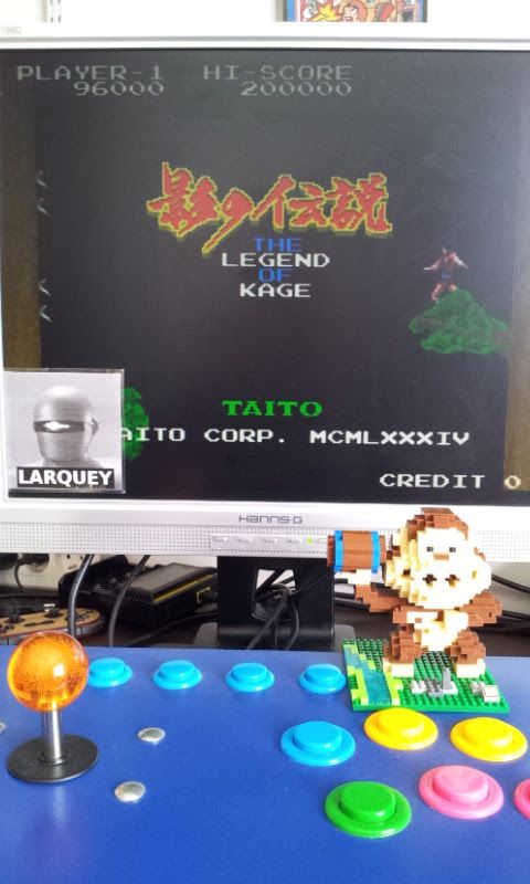 Larquey: The Legend of Kage (Arcade Emulated / M.A.M.E.) 96,000 points on 2017-07-02 10:51:04