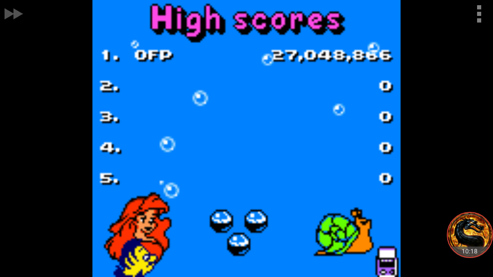 omargeddon: The Little Mermaid II: Pinball Frenzy (Game Boy Color Emulated) 27,048,866 points on 2018-07-22 10:47:17