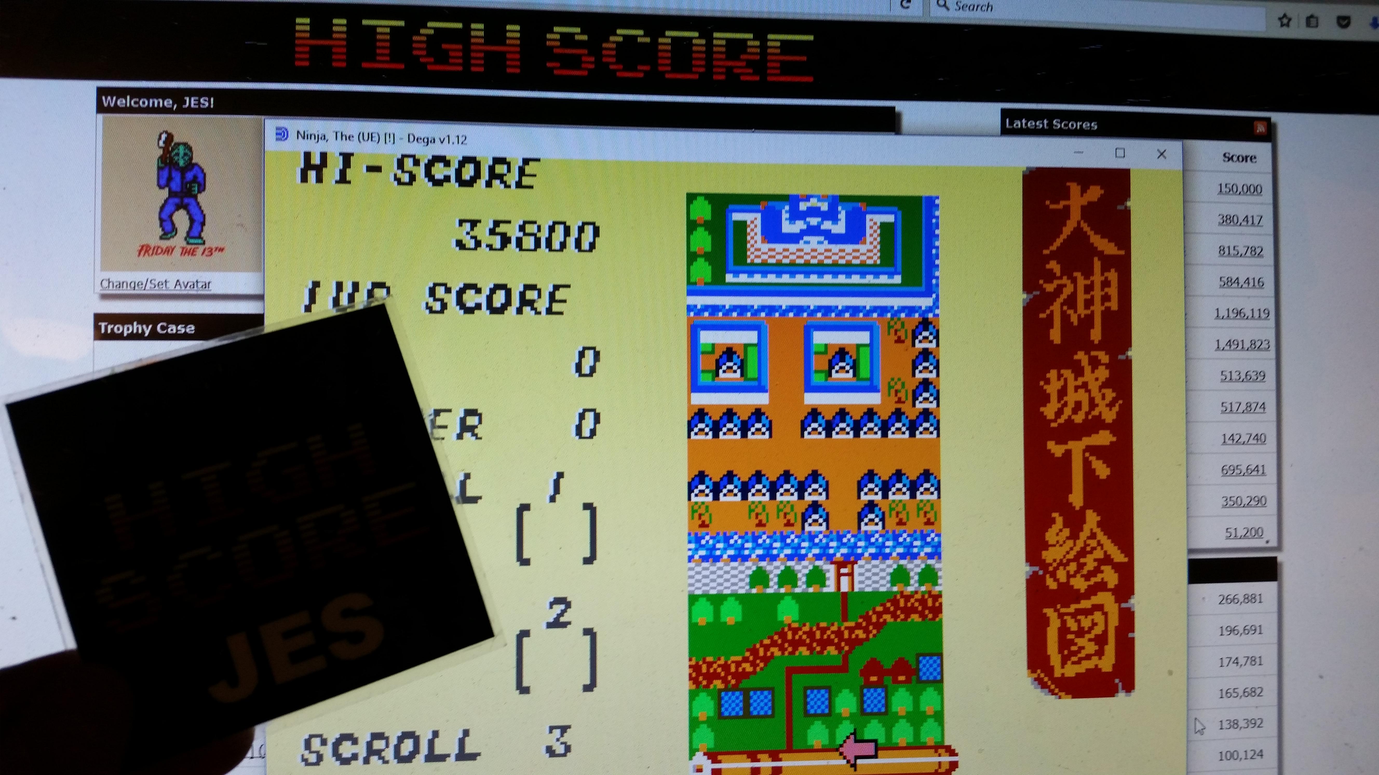 JES: The Ninja (Sega Master System Emulated) 35,800 points on 2017-01-25 23:01:00