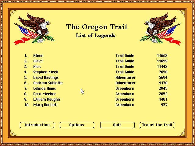 Atven: The Oregon Trail Deluxe (PC Emulated / DOSBox) 11,659 points on 2017-03-25 16:10:13