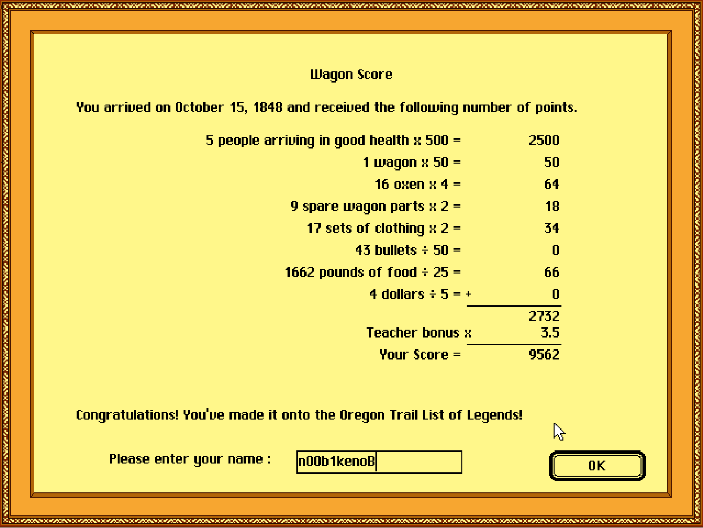 The Oregon Trail Deluxe 9,562 points
