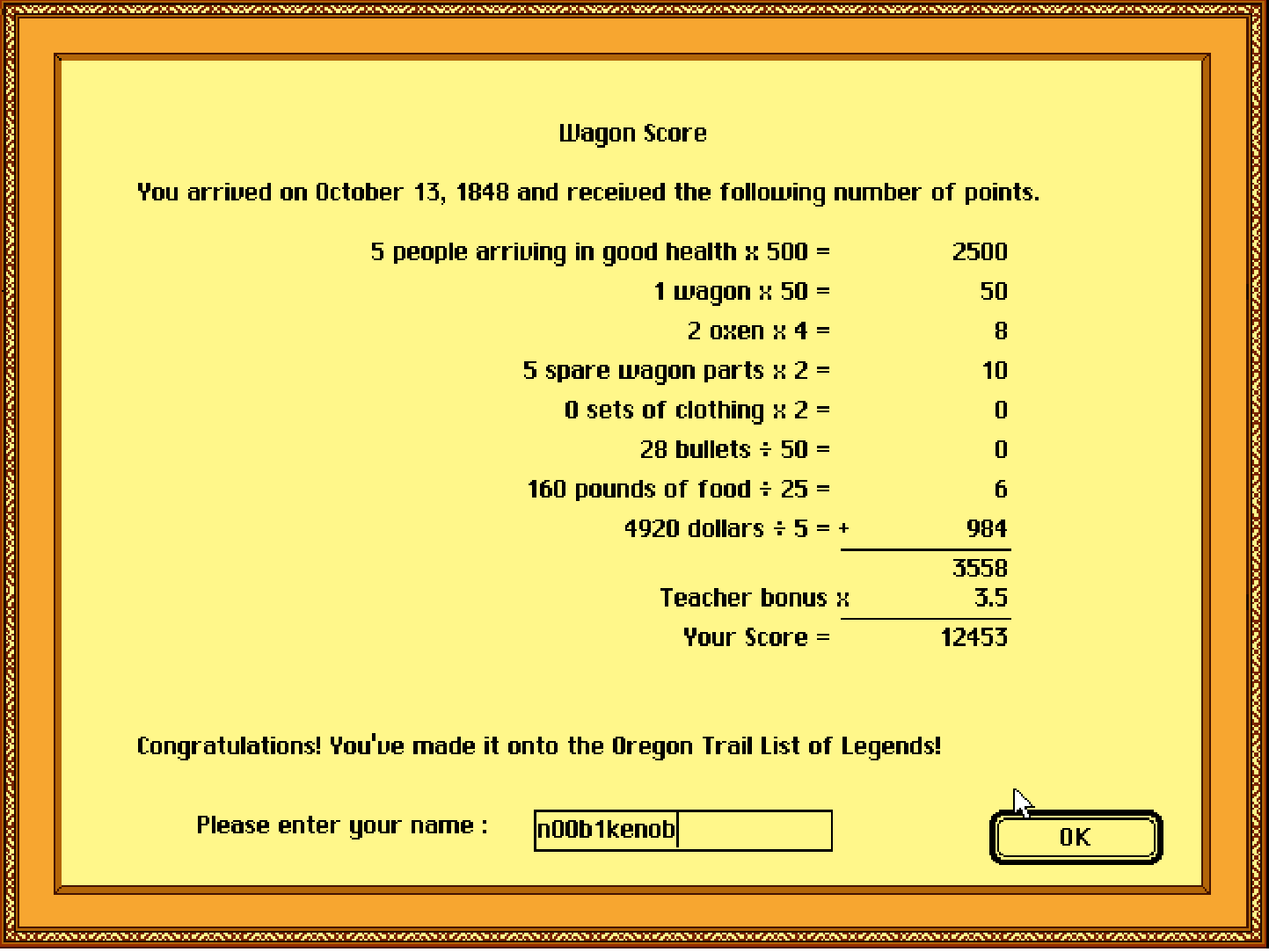 The Oregon Trail Deluxe 12,453 points