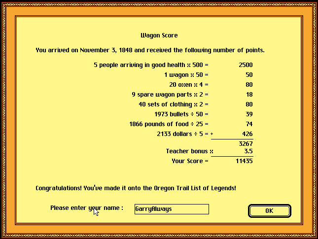 The Oregon Trail Deluxe 11,435 points