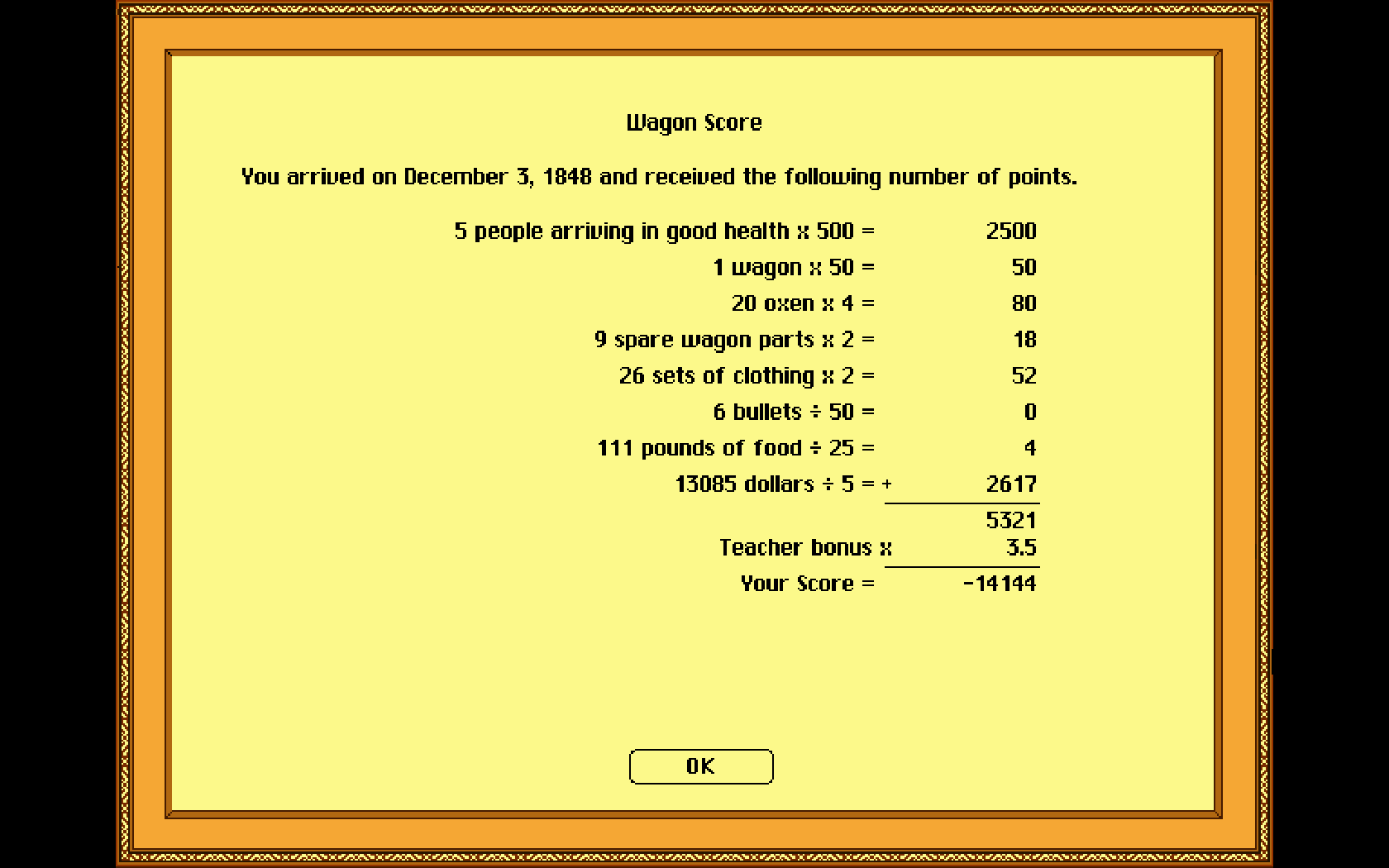 JamesGeddes: The Oregon Trail Deluxe (PC Emulated / DOSBox) 18,623 points on 2018-07-11 16:36:42